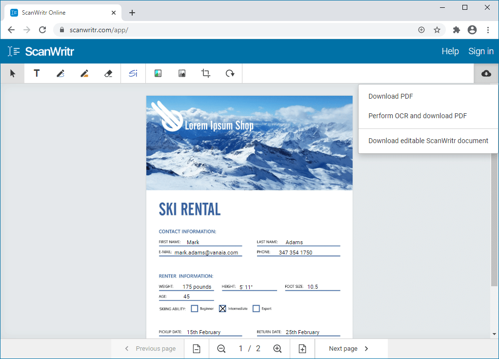 Open OpenOffice document online with ScanWritr